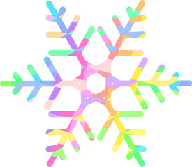 Bright rainbow snowflake with a pattern of colored diamonds