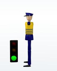 Vorfahrtsregelung durch einen Polizisten: freie Fahrt und grüne Ampel.