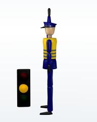 Vorfahrtsregelung durch einen Polizisten: warten und Kreuzung räumen mit gelber Ampel