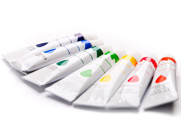 colorful paints for drawing, rainbow, gouache for creativity