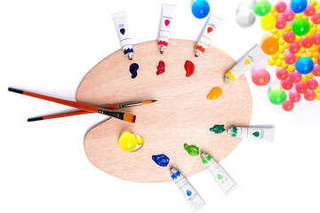 colorful paints in tubes for drawing, rainbow, gouache for creativity