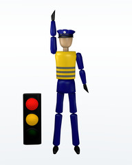 Vorfahrtsregelung durch einen Polizisten: noch warten mit gelber und roter Ampel