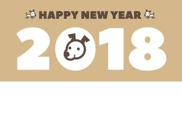 2018年 戌年 犬の年賀状イラスト