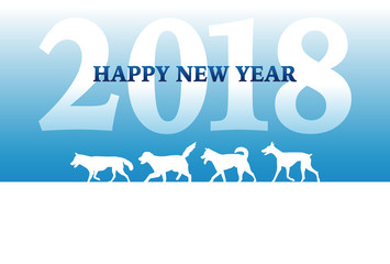 2018年 戌年 犬のシルエットの年賀状
