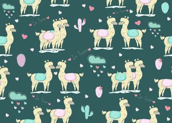 Cute Seamless simple alpaca pattern on dark background. Cute Scandinavian Style. Vector Illustration