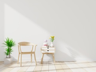 Working room mock up with chair, chest of drawers and plant in vase in living room interior. 3D rendering.