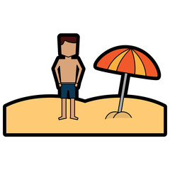 beach tropical man standign with open umbrella vector illustration