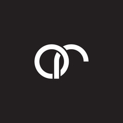 Initial lowercase letter or, overlapping circle interlock logo, white color on black background