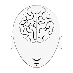 Head with brain icon vector illustration graphic design