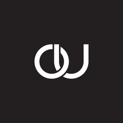 Initial lowercase letter ou, overlapping circle interlock logo, white color on black background