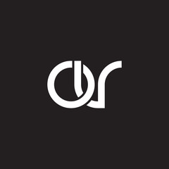 Initial lowercase letter ov, overlapping circle interlock logo, white color on black background