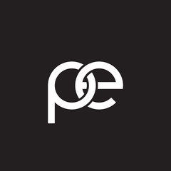 Initial lowercase letter pe, overlapping circle interlock logo, white color on black background