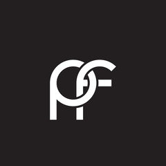 Initial lowercase letter pf, overlapping circle interlock logo, white color on black background