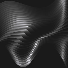 Abstract background with metal waves. Vector illustration
