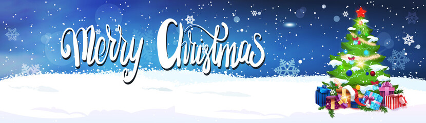 Merry Christmas Lettering Over Night Sky Background With Decorated Fir Tree Horizontal Banner Flat Vector Illustration