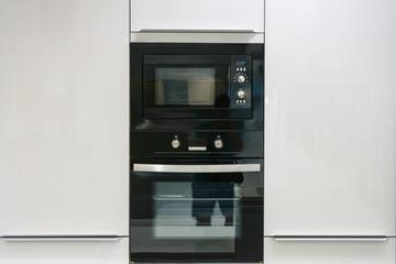 Modern kitchen interior with built-in appliances