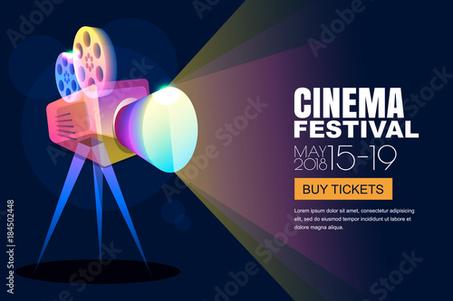 Vector Glowing Neon Cinema Festival Poster Or Banner Background