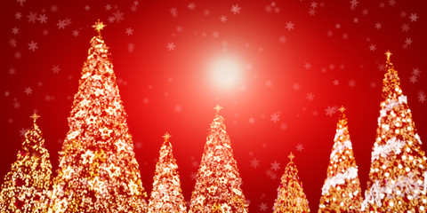 Christmas Tree Light with Defocused on Red Background for Copyspace. Happy New Year Concept.