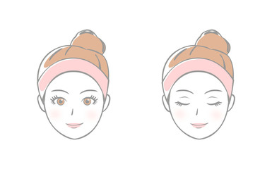 女性の顔 セット 美容