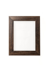 wood frame for photo, picture isolated on the white background.