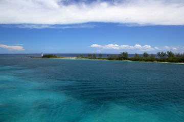 Old historic lighthouse at the tip of Paradise Island on the island of Nassau, Bahamas.