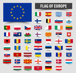 Set of official flags of europe . Floating flag design
