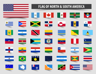Set of official flags of North and South America . Floating flag design