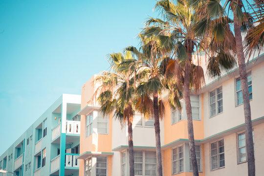 Typical South Beach Miami art deco district architecture