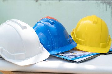 Safty helmet for protect head for architect or civil engineer or construction worker use in building site