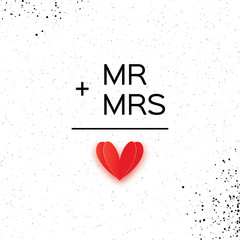Mr and Mrs words. Mister plus Missis equal love on white. Paper cut Red heart. Romantic card For wedding invitations design, table decoration, cards, banners.