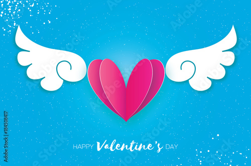 Happy Valentines Day Greetings Card Origami Cute Angel Wings And Romantic Pink Heart Love
