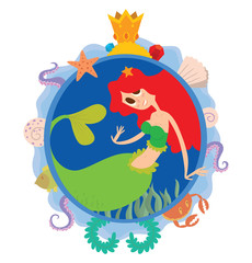 Vector image of a blue round frame with marine symbols: shells, tentacles, crab, fish, algae and golden crown with cartoon image of cute mermaid with scarlet long hair in center on a white background.