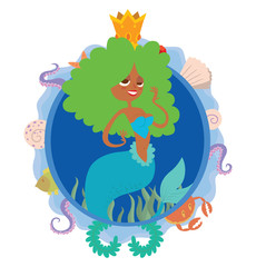 Vector image of a blue round frame with marine symbols: shells, tentacles, crab, fish, algae and golden crown with cartoon image of cute mermaid with green curly hair in center on a white background.