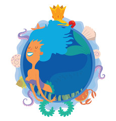 Vector image of a blue round frame with marine symbols: shells, tentacles, crab, fish, algae and golden crown and with cartoon image of a cute mermaid with blue hair in center on a white background.