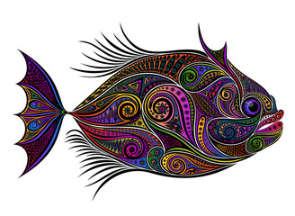 Vector colored fish from patterns on a light background