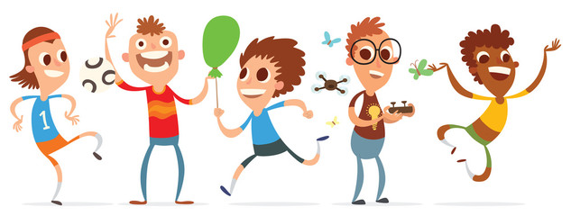 Vector cartoon image of a set of funny little boys with a different hair color and skin in different clothes and in different poses on a white background. Summer, holidays. Vector illustration.
