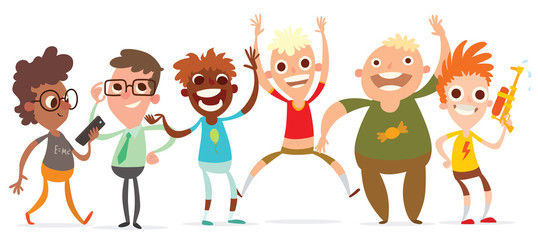 Vector cartoon image of a set of six funny little boys with a different hair color and skin in different clothes and in different poses on a white background. Summer, holidays. Vector illustration.