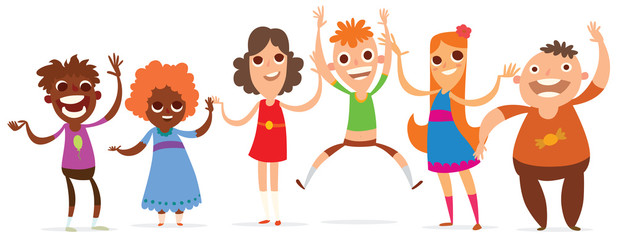 Vector cartoon image of a set of little boys and girls with a different hair color and skin in different clothes and in different poses on a white background. Summer, holidays. Vector illustration.