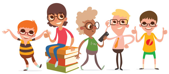 Vector cartoon image of a set of cute little boys in glasses with different hair color and skin in different clothes and in different poses on a white background. Summer, holidays. Vector illustration
