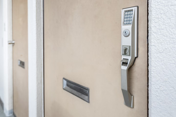 Close - up Door handle with Electronic keypad lock