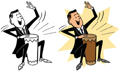 A man in a suit playing a bongo drum.