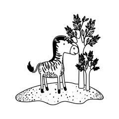 zebra cartoon next to the trees in black sections silhouette vector illustration