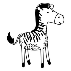 zebra cartoon in black sections silhouette vector illustration
