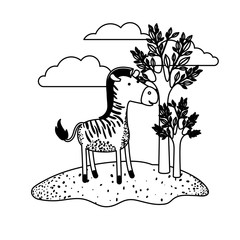 zebra cartoon in outdoor scene with trees and clouds in black sections silhouette vector illustration