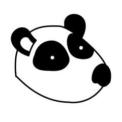 panda cartoon head in black sections silhouette vector illustration