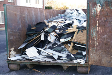 Industrial waste in the iron dumpster