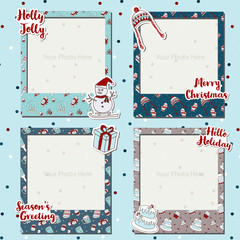 A Merry Christmas photograph frames set scrapbook design image, gift item with text, snowman, Christmas tree, bobble hat, cake, decorated scrapbook, photo book, celebration, season greeting.
