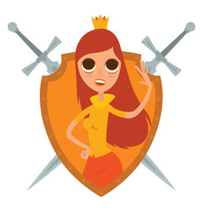 Vector image of a yellow frame in the shape of a shield with crossed swords and with cartoon image of a modern princess with long brown-red hair with a golden crown on her head on a white background.
