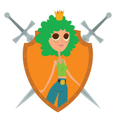 Vector image of a yellow frame in the shape of a shield with crossed swords and with cartoon image of a modern princess with curly green hair with a golden crown on her head on a white background.