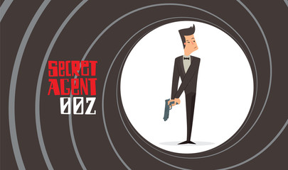Vector image of a black background in the form of a gun barrel with a cartoon image of a secret agent in a black tuxedo with a gray gun in his hand in the center. Spy, detective. Vector illustration.